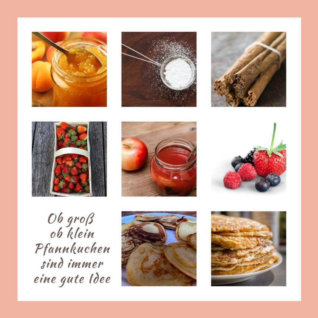 Buttermilchpfannkuchen Collage von verschiedenen Beilagen
