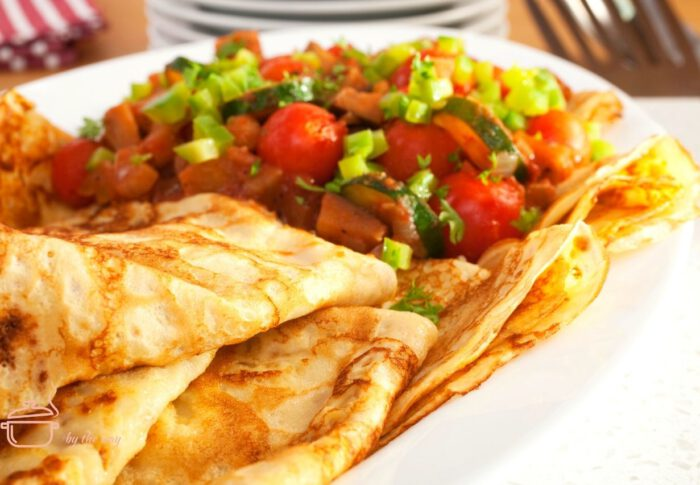 Pfannkuchen mit Ofen- oder Grillgemüse